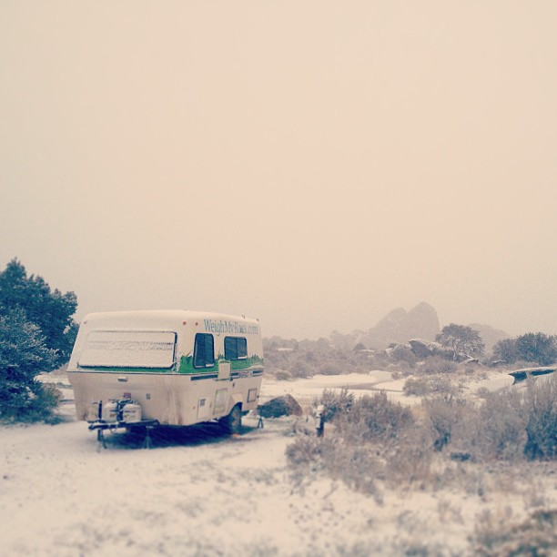 Freak snowstorm in September at City of Rocks. Time to hook up and head out.